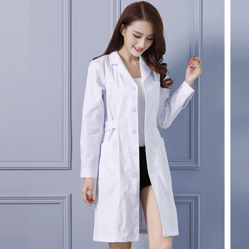 Women Men Lab Coat Short Sleeve Doctor Nursing Dress Scrubs Long Sleeve Medical Scrubs Adjustable Waist White Jacket