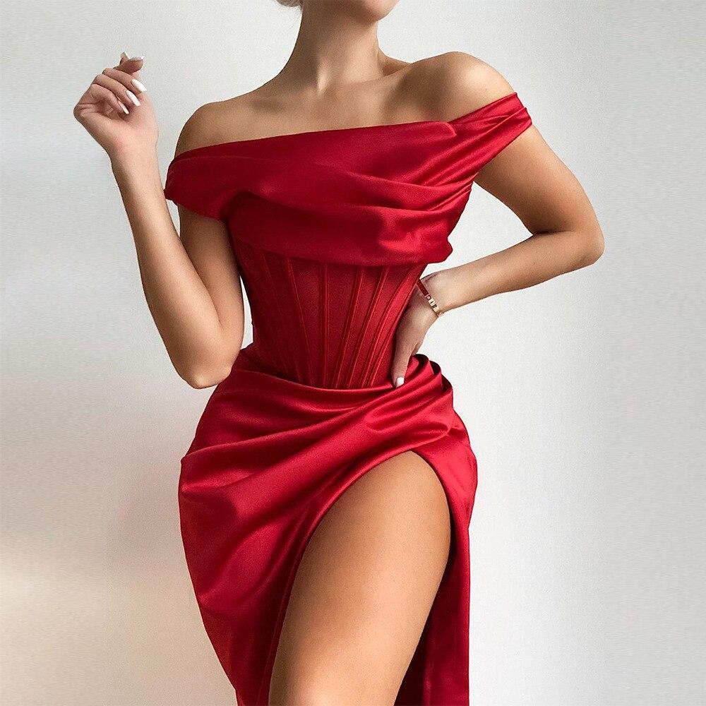 Townlike Stretch Satin Elegant Dress Women High Split One Shoulder Sexy Party Dress  2021 Summer Dresses With Fishbone Vestidos 1