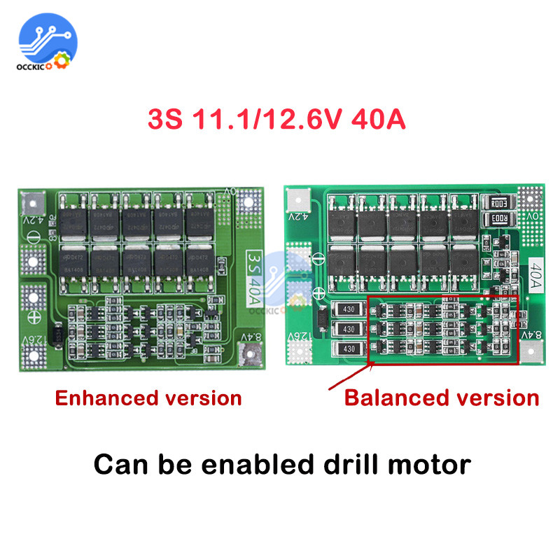 BMS 3S 40A 11.1/12.6V Lithium 18650 Battery Protection Board Enhance/Balance PCB 18650 Module Power Bank Charger Accessories