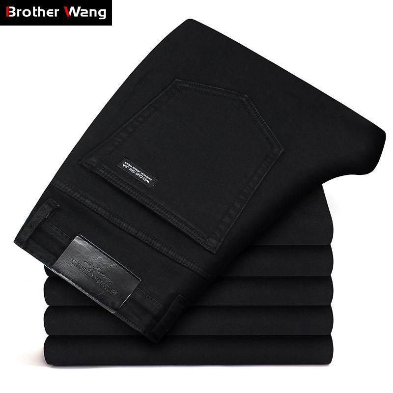 Black Jeans Pants Stretch Slim-Fit Business Classic Male Fashion Denim Brand New-Style
