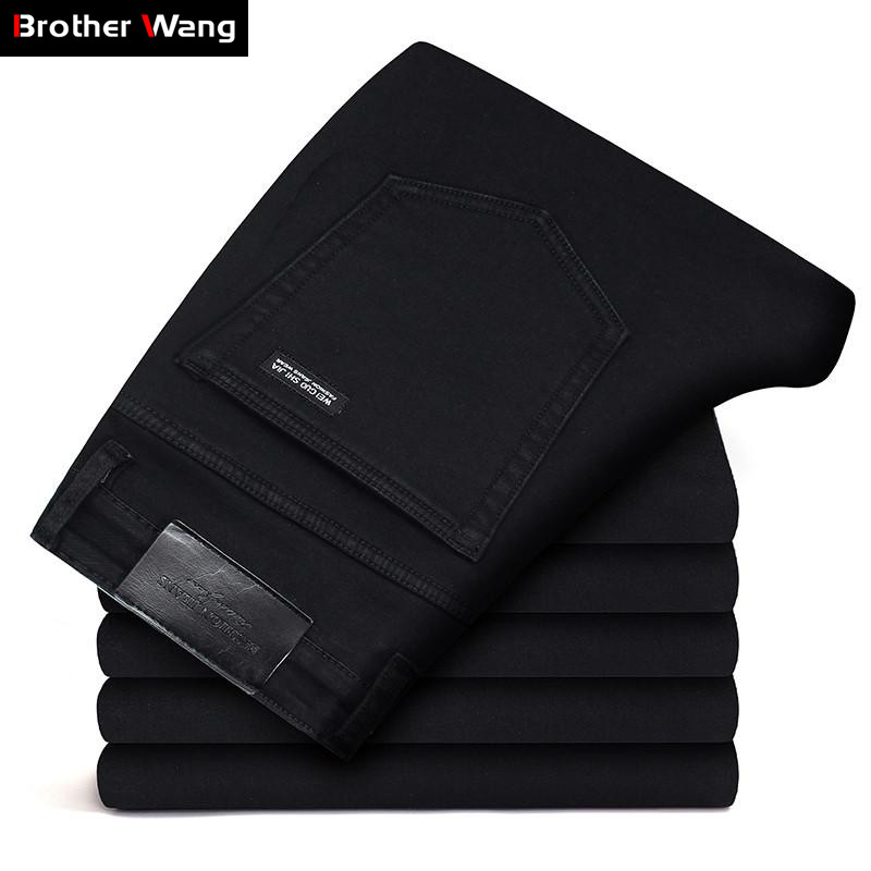 Classic Advanced Stretch Black Jeans 2021 New Style Business Fashion Denim Slim Fit Jean Trousers Male Brand Pants