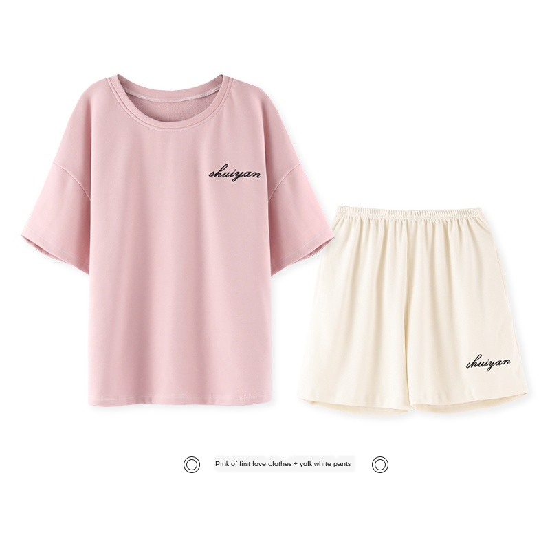 New Lazy Style Pyjamas Set 2020 Summer Cotton Women Set Short Sleeve Women Sleepwear Top Short Home Wear Set