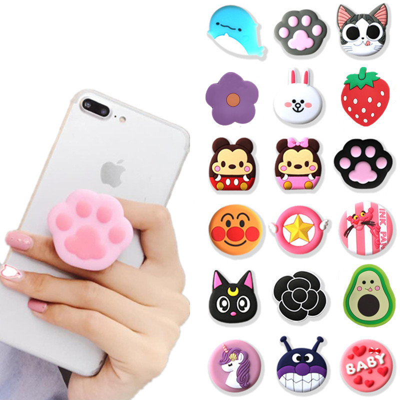 NEW 1PCS Universal Mobile Phone Bracket Cute 3D Animal Airbag Phone Expanding Stand Finger Holder Rabbit Bear Phone Holder Stand