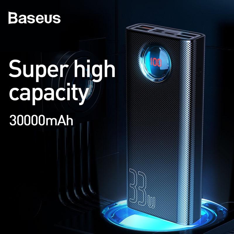 BASEUS 30000mAh PowerBank QC 3.0 + PD Fast Charger 33W Power Bank เครื่องชาร์จโทรศัพท์สำหรับ iPhone ภายนอกแบตเตอรี่ charger Poverbank