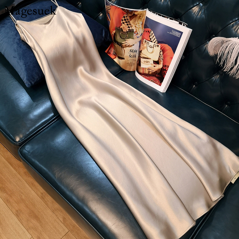 Платье с короткими рукавами, сексуальное летнее платье для женщин 2021 без рукавов размера плюс миди женские Атласное Платье С НАБОРНЫМИ БРЕТ...