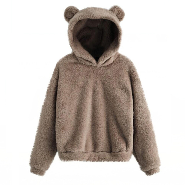 Lovely Fleece Animal Hoodies Women Sweatshirt Long Sleeve Warm Bear Ear Hooded Plush Hoody Pullover Lady Winter Tops 2