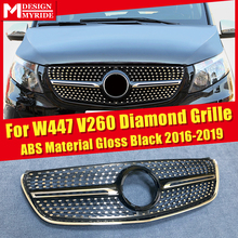 Diamonds Grille For V Class W447 Grills Fits MercedesMB Vito Sport V260 V250 ABS Black Without Sign&Camera 2016-2019