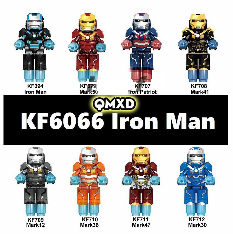 8pcs/set <font><b>KF6066</b></font> compatible Legoingly revenge Super hero iron Man Assembled people blocks brain game Children's gift Collection image