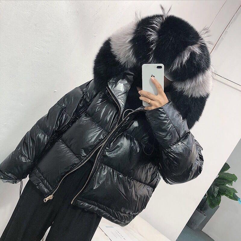 Женская куртка из натурального Лисьего меха, новинка 2019, зимняя куртка, женская теплая парка, натуральный мех, белый утиный пух, пуховик, водонепроницаемое пальто - 6