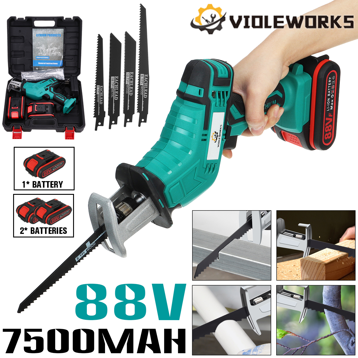 88V 7500mAh Battery Cordless Reciprocating Saw Wood Metal Cutting Saber Saw Portable Electric Saw Rechargeable Power Tool