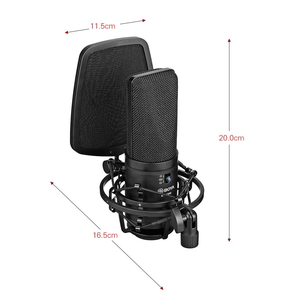 Boya BY-M1000 microfone de diafragma grande profissional