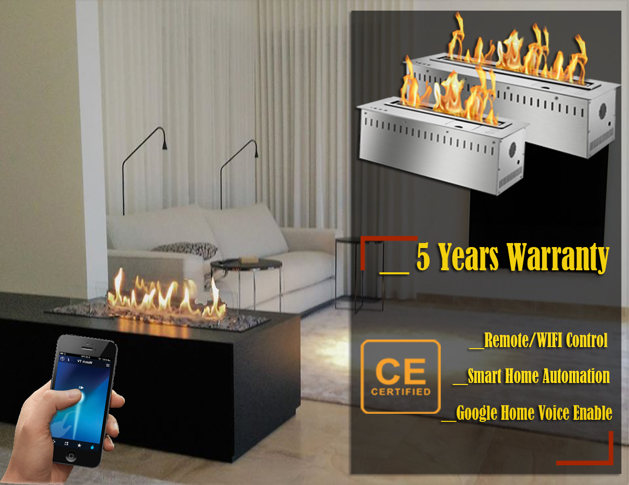 Hot Sale 60 Inches Smart Ethanol Fire Wifi Burner Eco Fireplace Insert