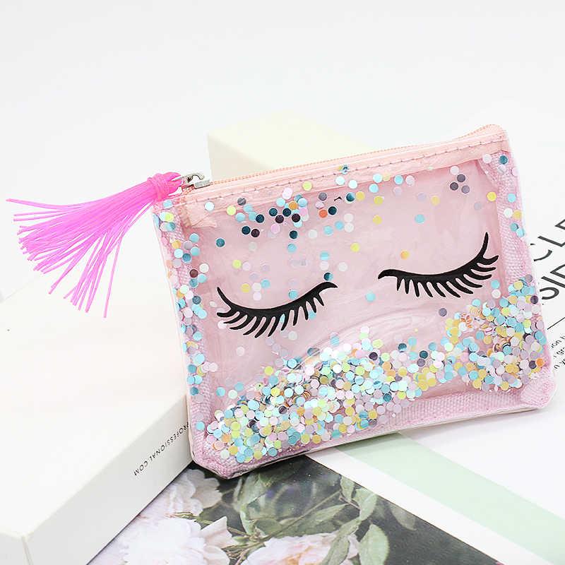 Xzp carteira transparente de pvc, bolsa de moedas feminina pequena com troca, para mini carteiras de bolso para crianças, porta-chaves sacos de sacos