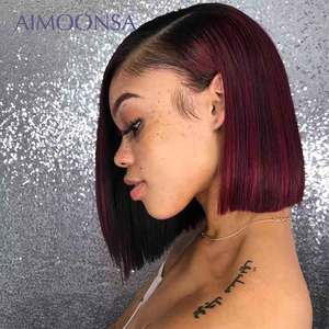 Burgundy Lace Front Wig Colored Ombre Human Hair Wigs Red Hair Straight 1B/99J For Women Peruvian Remy Aimoonsa(China)