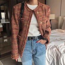 Твидовые женские куртки модные повседневные Карманы потертая