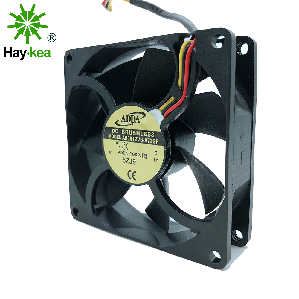For ADDA 8025 <font><b>80mm</b></font> x <font><b>80mm</b></font> x 25mm AD0812VB-A72GP 12V 0.65A winds of chassis server solar inverter case computer pc cooling <font><b>fans</b></font> image