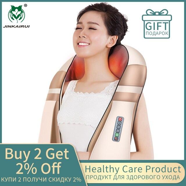 Masajeador de hombro y cuello eléctrico en forma de U de JinKaiRui, masajeador de espalda infrarroja 4D para masaje de coche, el mejor regalo para el cuidado de la salud