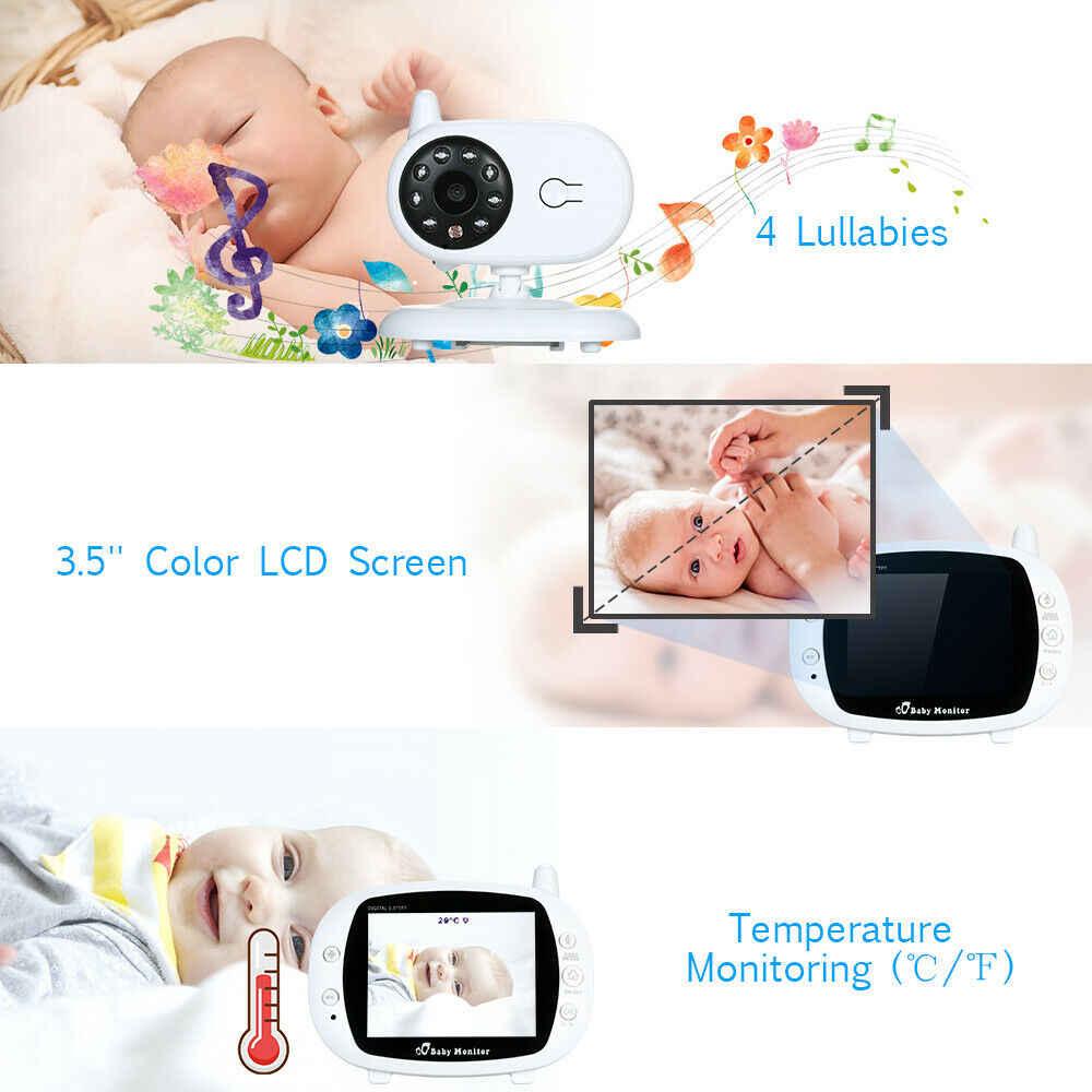3,5 pulgadas inalámbrico de Audio Dual Monitor de bebé de alta resolución cámara de seguridad de bebé niñera IR visión nocturna monitoreo de temperatura