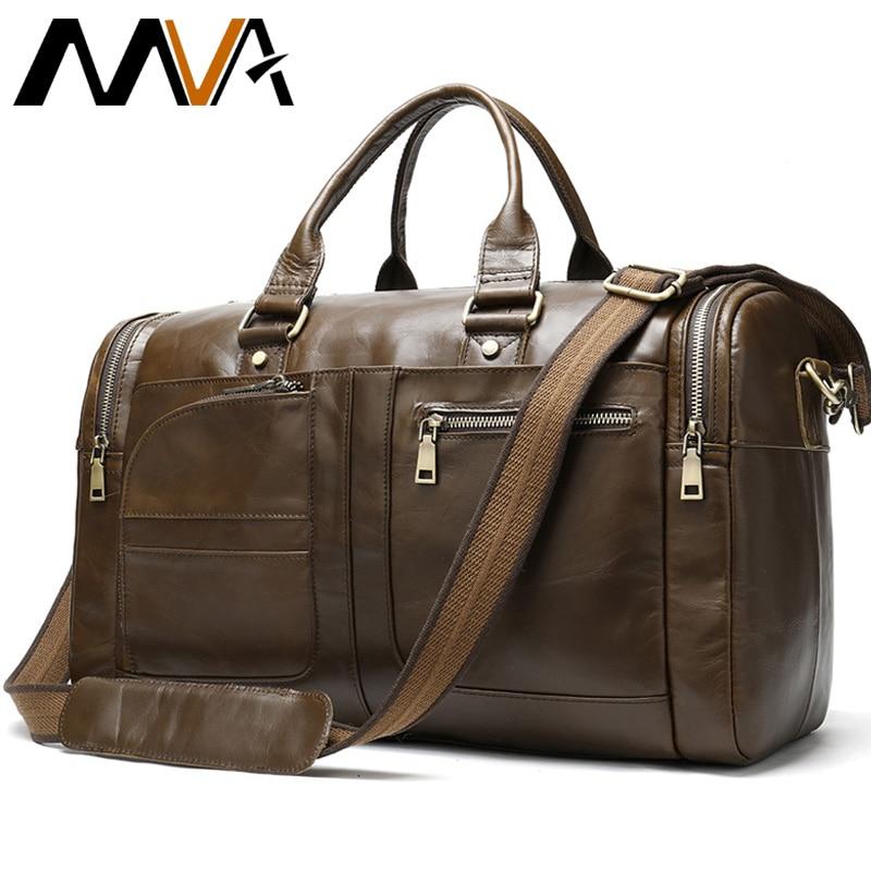 MVA Echtem Leder Gepäck Reisetaschen Männer Leder Duffle/Reisetasche Männlichen Wochenende Tasche Hand Gepäck Reisen Männer Große /Big Bags