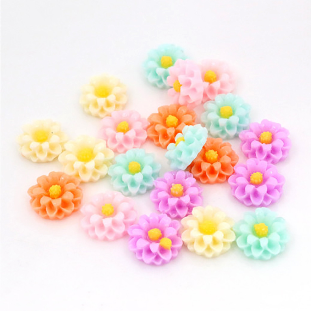 New Fashion 10mm 40pcs Mix Colors Flower Style Flat Back Resin Cabochons For Bracelet Earrings Accessories G1-14