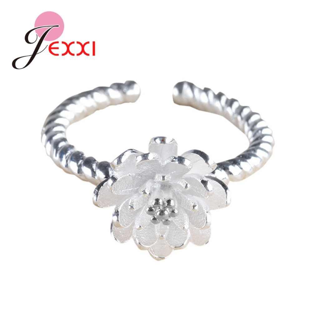ใหม่แนวโน้มเกาหลี 925 เงิน Lotus ดอกไม้แหวนปรับขนาดแหวนแฟชั่นเครื่องประดับ Anillos Mujer