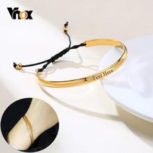 Vnox – chaîne sportive en corde noire, bijoux personnalisés, couleur or, bracelet manchette en acier inoxydable, cadeau, citation, Bracelets pour femme