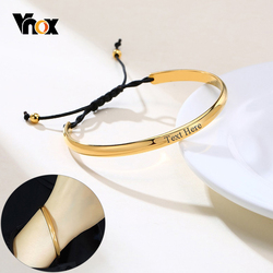 Vnox Sports Black Rope Chain Bracelets for Women Jewelry Personalize Custom Gold Color Stainless Steel Cuff Bangles Quote Gifts