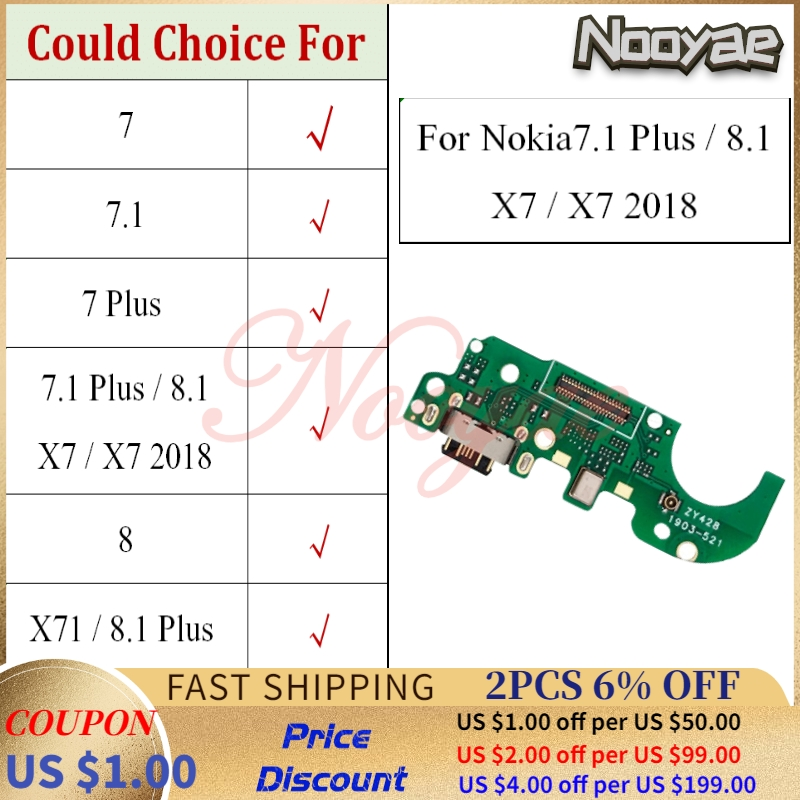 For <font><b>Nokia</b></font> 7 7.1 X7 2018 <font><b>8.1</b></font> 8 X71 Plus USB Dock Charging Port <font><b>Charger</b></font> Plug Flex Cable Microphone MIC Antenna Connector Board image