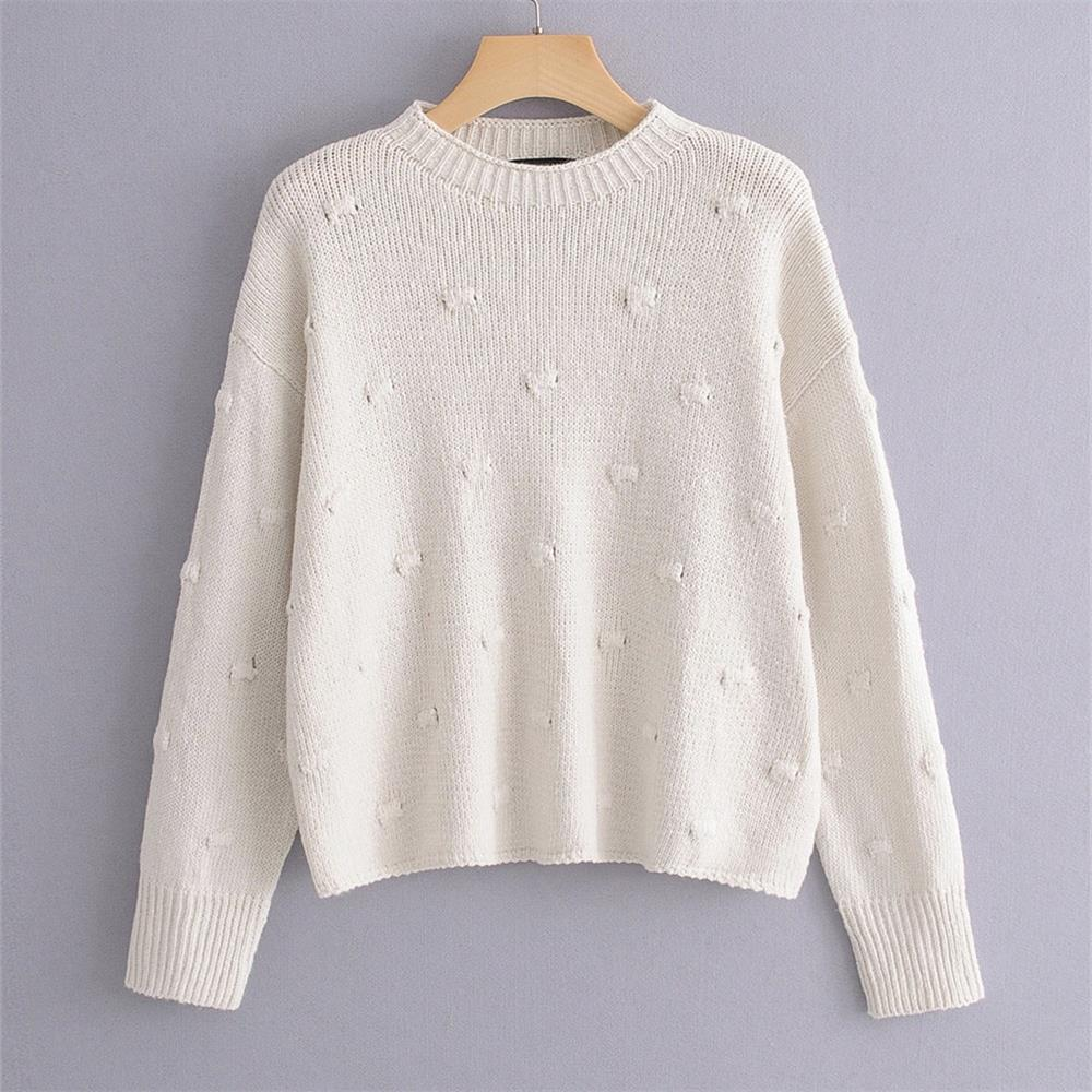 Early Spring 2020 Women's New Polka Dot Embellishment Knitted Top Round Neck Loose Long Sleeve Pullover Lazy Vintage Sweater
