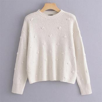 Early spring 2020 women's new Polka Dot embellishment knitted top round neck loose long sleeve Pullover lazy Vintage sweater фото