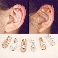 Oreille manchette U étoile lune boucle d'oreille Punk minimaliste femmes argent métal boucle faux Piercing oreille pince sans crevaison perle boucles d'oreilles