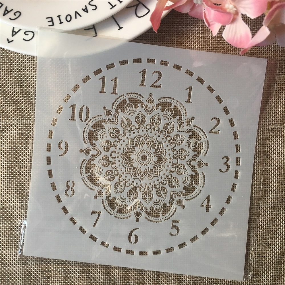 6*6inch Clock Flower Dial DIY Layering Stencils Painting Scrapbook Coloring Embossing Album Decorative Card Template