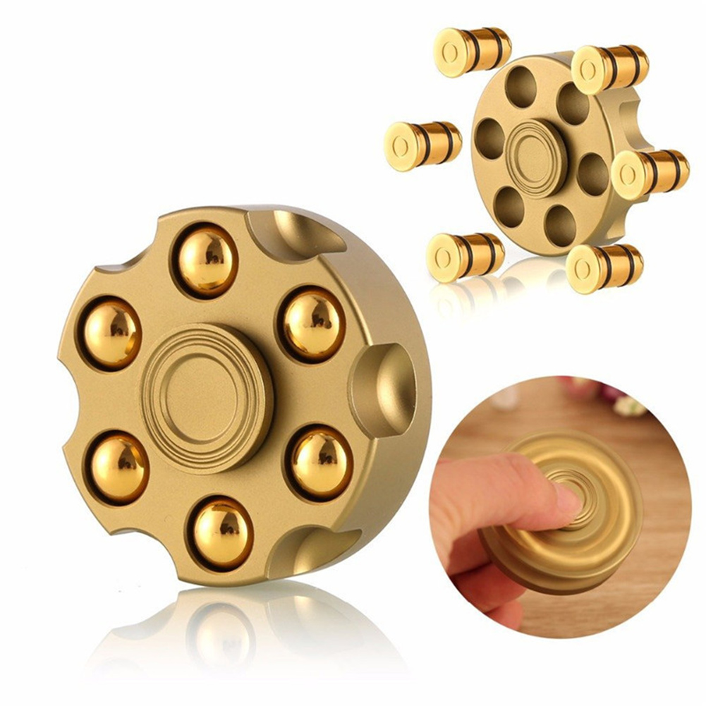 Removable Revolver Bullet Brass Fingertip Gyro Fidget Hand Spinner Finger Spinner Focus Tri Spinner Anti Reduce Stress