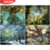 HUACAN DIY Pictures By Number Tree Kits Drawing On Canvas Painting By Numbers Landscape Hand Painted Paintings Gift Home Decor