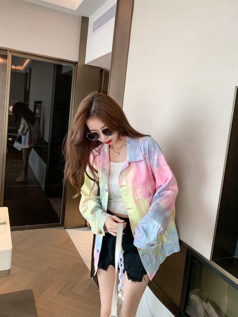 Chaqueta con estampado de arcoíris para mujer, prendas de vestir dulces de invierno, chaquetas para mujer, informal, de calle, estilo coreano, chaqueta elegante para mujer, novedad de 2020