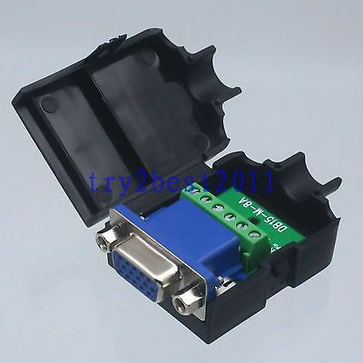 DHL/EMS 20 Sets Connector DB15 6pin Jack Pin D-SUB 3+2 Line Termina PCB Plastic Cover Nut Black -C1