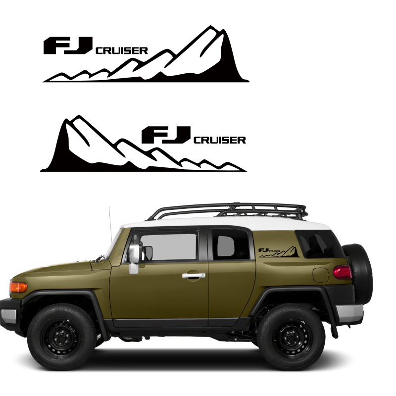 Car Sticker 2 Pcs Rear Trunk Side Body Mountains Styling  Graphic Vinyl Car Accessories Deacal Custom For Toyota FJ CRUISER