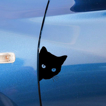 12*15CM 3D Car Styling Funny Cat Eyes Peeking Sticker Waterproof Peeking Monster Auto Accessories Whole Body Cover for Car image