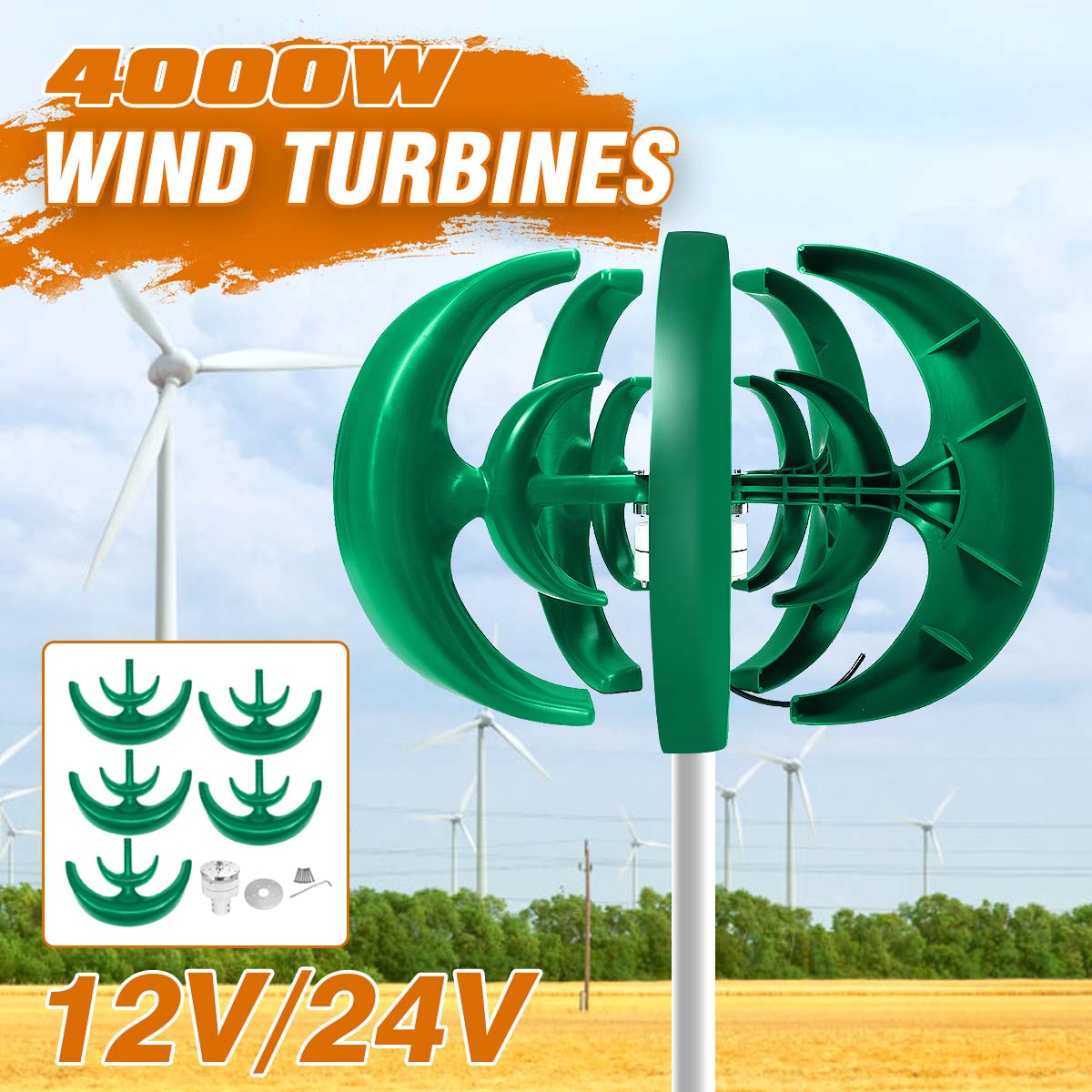 4000W 12V 24V Vertical Axis Wind Turbines Generator Lantern 10 Blades Motor Kit Windmill Energy Charge Turbines For Home Camping