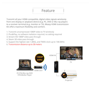 Image 3 - W2H Nano HDMI sans fil Extender 1080P 3D 7.1 HD Audio vidéo aluminium HDMI étendre lexpéditeur 30m 100FT sans fil émetteur récepteur