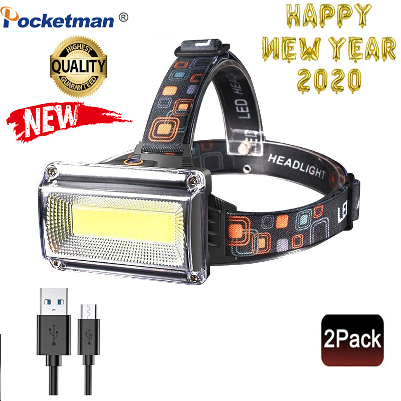 2020 2Pcs Brand New 8000LM Working Headlight COB LED Floodlight 3Modes Head Lantern Torch 3*18650 Rechargeable Frontal HeadLamp