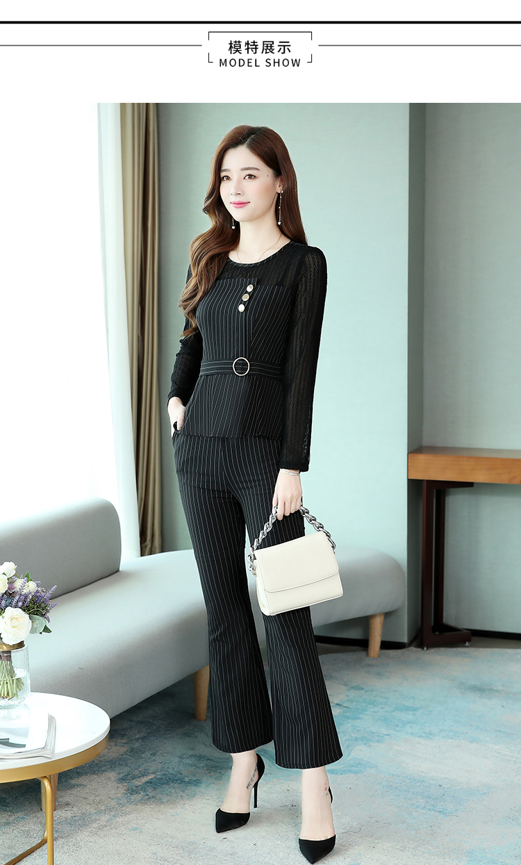 Black Striped Office Two Piece Sets Outfits Women Plus Size Long Hollow Tops And Pants Suits Elegant Korean Ol Style Sets 2020 33