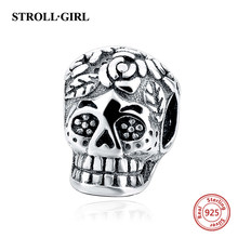 Stroll Girl 100% Real 925 Sterling Silver Skull Jewelry Beads Fit Original Pandora Bracelet Pendant Authentic Jewelry For Mother(China)