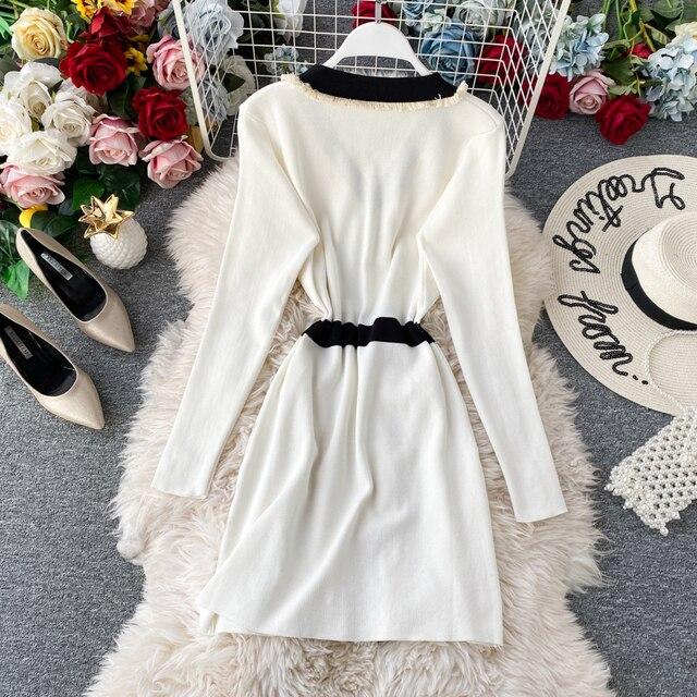 Women's Knit Dress Autumn Winter New Korean Temperament V-neck Long-sleeved Slim Hip Knit Dress Bottoming Sweater Dress ML488 3
