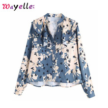Women Blouses Print Floral Pattern Long Sleeve Women Tops and Blouses Vintage Casual Ladies Top Basic Chic Ruffled Shirt Women