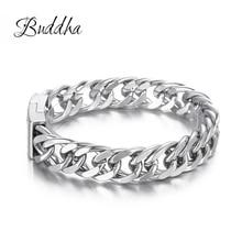 Bicycle Chain Buddha Wristband Fashion New Link Chain Stainless Steel Bracelet Women Heavy 12MM Wide Mens Buddha Bangle ZTB423 4
