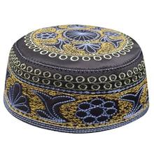 Neue schwarz moslemische hüte für männer Gebet Beanie Türkisch Arabisch Hüte Gestrickte Islamischen Kappen Kopftuch Kleidung Häkeln Islamischen Mode
