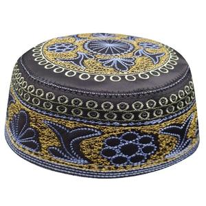 Image 1 - New black muslim hats for men Prayer Beanie Turkish Arabic Hats Knitted Islamic Caps Headscarf Clothing Crochet Islamic Fashion