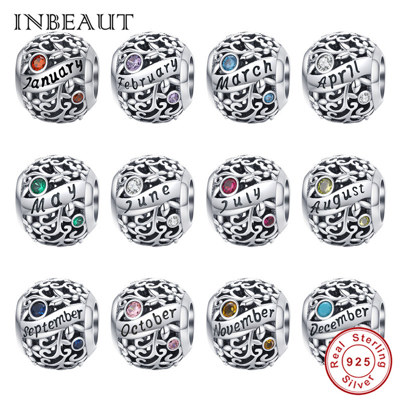 INBEAUT Original Birth Charms fit Pandora Bracelet 925 Sterling Silver Birthday Stone Beads Month Date Letter Pendant Jewelry(China)