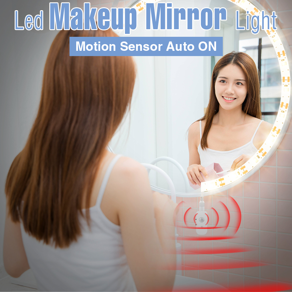 Smart Mirror Auto ON Motion Sensor Bathroom Mirror Night Lamp LED Makeup Dimmable Vanity Mirror Lights Decoration Dressing Table